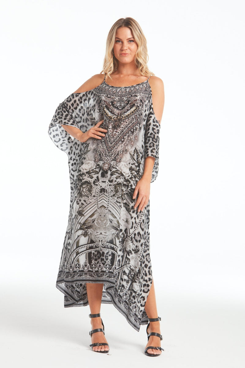 WILD AT HEART COLD-SHOULDER LONG KAFTAN - Czarina