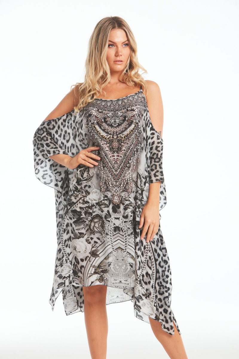 WILD AT HEART COLD-SHOULDER SHORT KAFTAN - Czarina