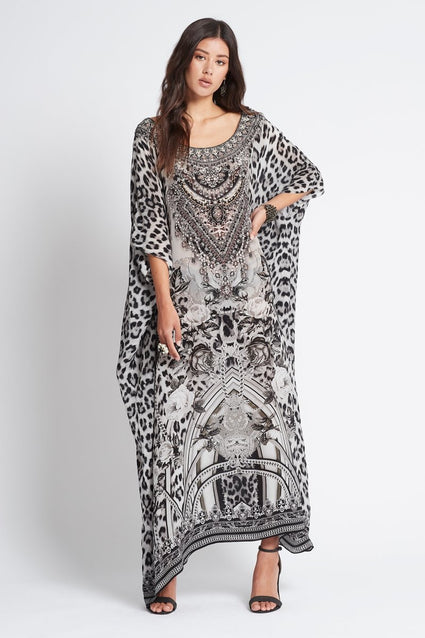 WILD AT HEART ROUND-NECK LONG KAFTAN - Czarina