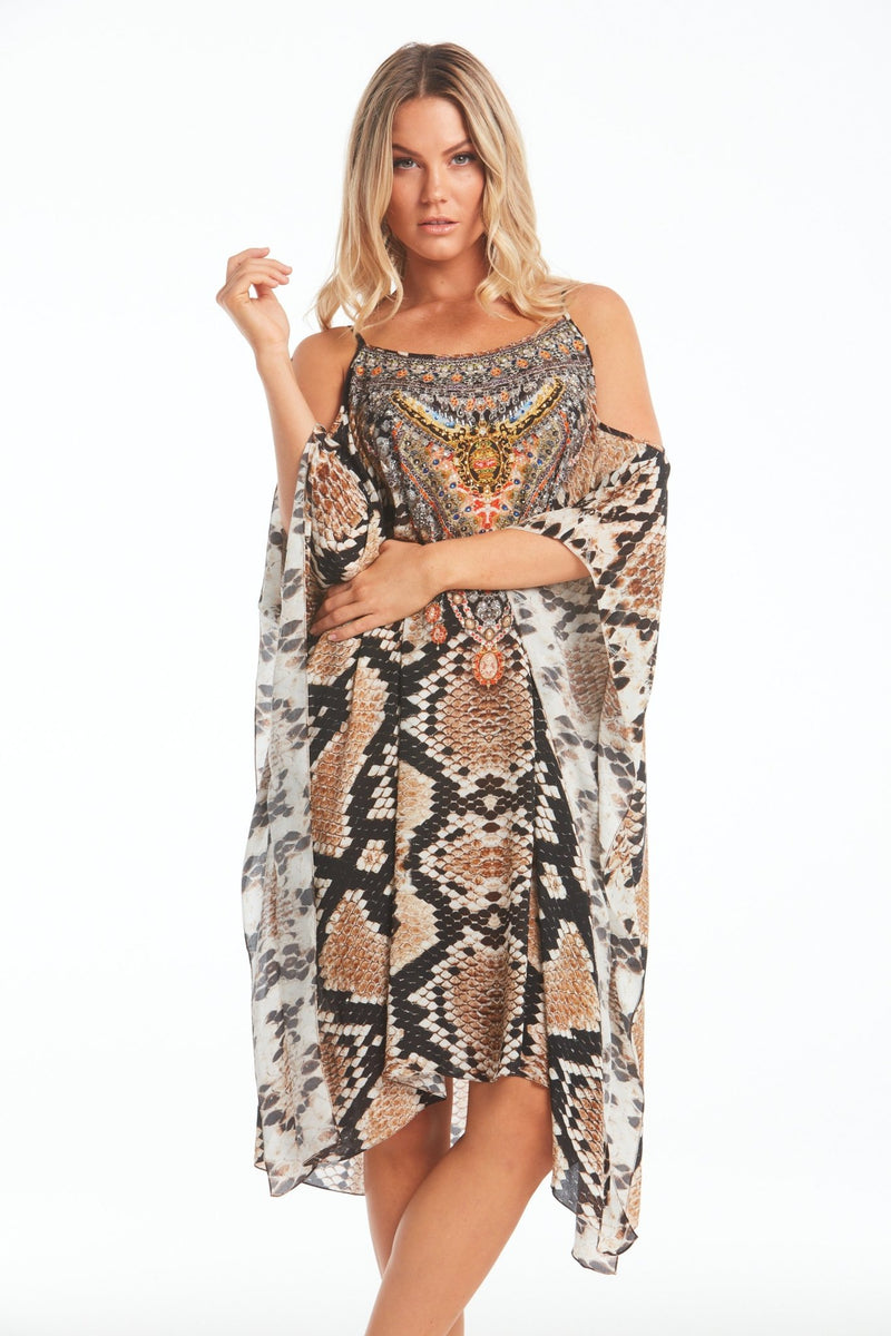 WILD DESERT COLD-SHOULDER SHORT KAFTAN - Czarina