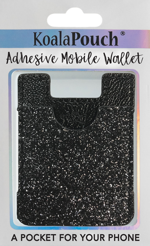 Glitter Koala Pouch - Phone Card Holder, Stick On Wallet (Black)