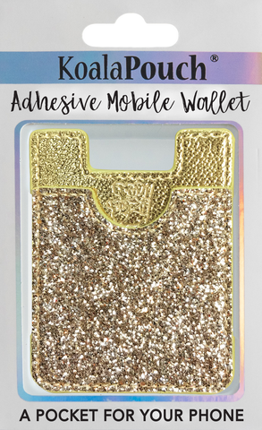 Glitter Koala Pouch - Phone Card Holder, Stick On Wallet (Gold)