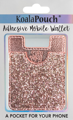 Glitter Koala Pouch - Phone Card Holder, Stick On Wallet (Pink)