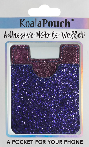 Glitter Koala Pouch - Phone Card Holder, Stick On Wallet (Purple)