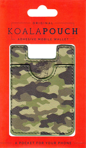 Camo Koala Pouch - Phone Card Holder, Stick On Wallet (Green)