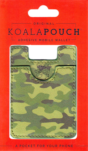 Camo Koala Pouch - Phone Card Holder, Stick On Wallet (Green Alt)