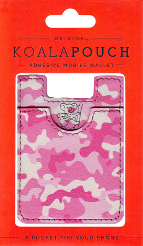 Camo Koala Pouch - Phone Card Holder, Stick On Wallet (Pink)