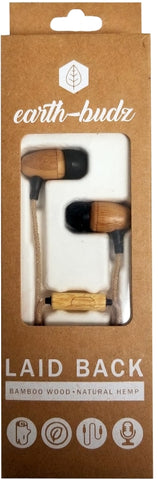 Earth-Budz - Genuine Wood Earbuds, in-Ear Noise-Isolating Headphones, with in-line Microphone. (Laid Back)