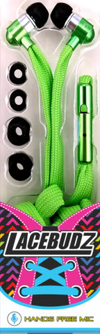 Lacebudz Earphone - Shoe lace style Earphones in Green Color