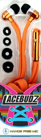 Lacebudz Earphone - Shoe lace style Earphones in Orange Color