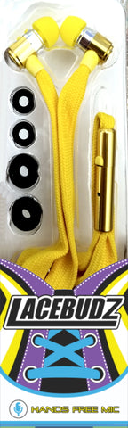 Lacebudz Earphone - Shoe lace style Earphones in Yellow Color