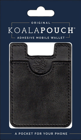 Leather Style Koala Pouch - Phone Card Holder, Stick On Wallet (Black)