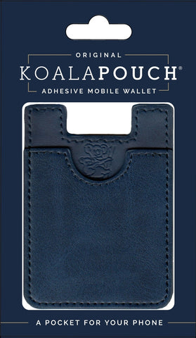 Leather Style Koala Pouch - Phone Card Holder, Stick On Wallet (Navy)
