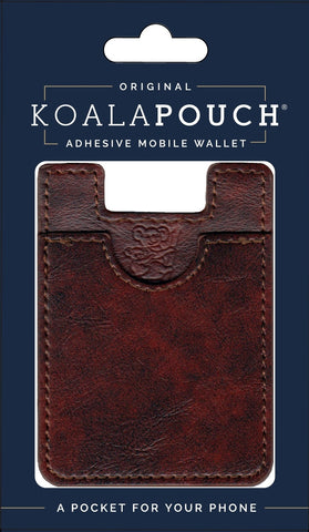 Leather Style Koala Pouch - Phone Card Holder, Stick On Wallet (Redwood)