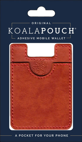 Leather Style Koala Pouch - Phone Card Holder, Stick On Wallet (Rust)