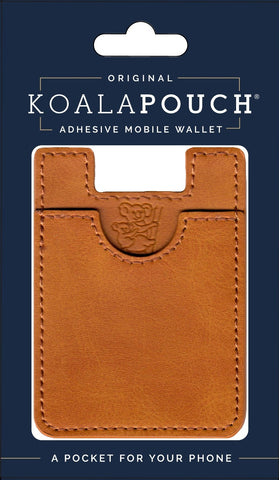 Leather Style Koala Pouch - Phone Card Holder, Stick On Wallet (Saddle)
