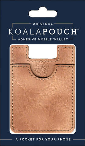Leather Style Koala Pouch - Phone Card Holder, Stick On Wallet (Tan)
