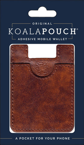 Leather Style Koala Pouch - Phone Card Holder, Stick On Wallet (Whiskey)