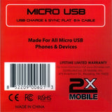 2xMobile Niki 6ft Micro USB Charge/Sync Cable back