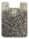 Glitter Koala Pouch - Phone Card Holder, Stick On Wallet (Silver)