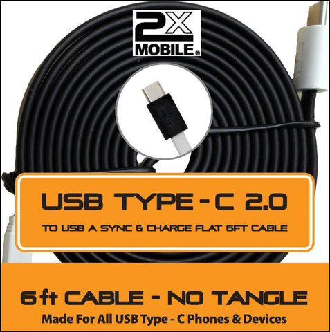 6 ft USB Type C to USB Sync/Charging Cable 2xMobile