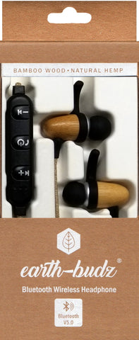 Bluetooth Wireless Earth-Budz - Genuine Wood Earbuds, in-Ear Noise-Isolating Headphones, with in-line Microphone. (Laid Back)