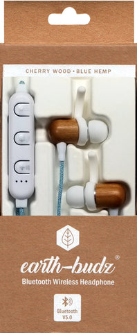 Bluetooth Wireless Earth-Budz - Genuine Wood Earbuds, in-Ear Noise-Isolating Headphones, with in-line Microphone. (Blue Skies)