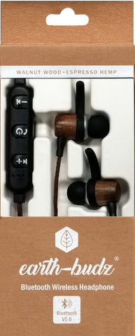 Bluetooth Wireless Earth-Budz - Genuine Wood Earbuds, in-Ear Noise-Isolating Headphones, with in-line Microphone. (Earth Diver)