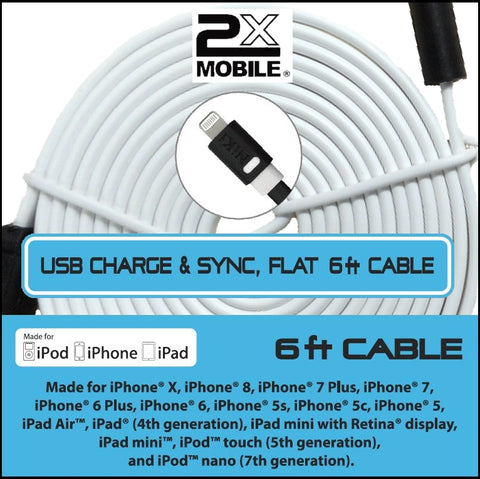 6 ft iPhone 5-X Sync/Charging cable 2xMobile