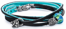 Load image into Gallery viewer, Leather Bracelet Cyan/Key