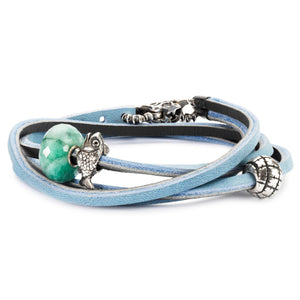 Leather Bracelet Light Blue / Dark Grey