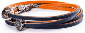 Leather Bracelet Orange/Navy
