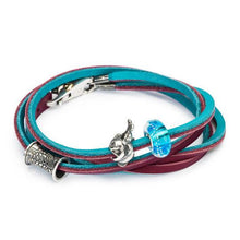 Load image into Gallery viewer, Leather Bracelet Turquoise / Plum