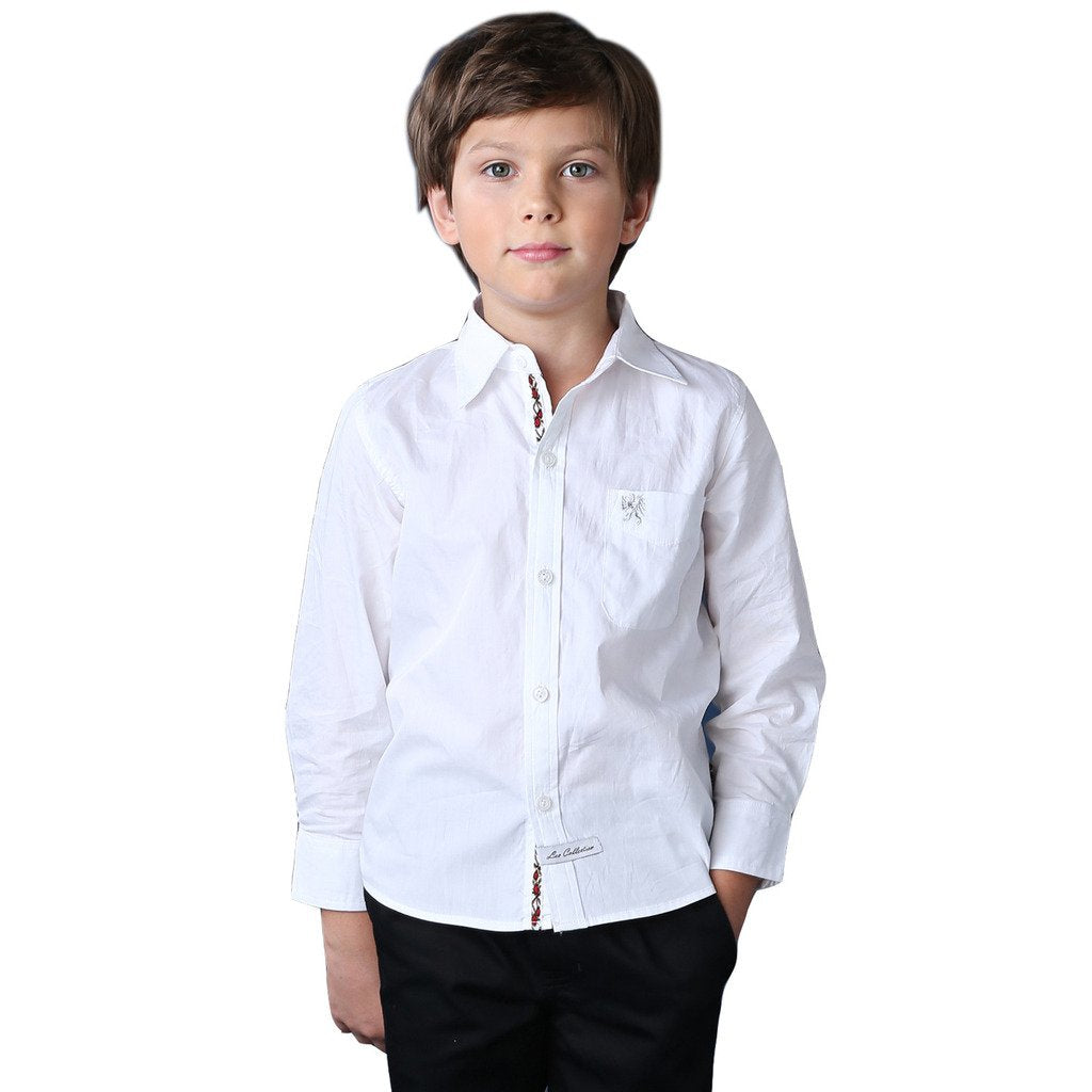 LEO&LILY Boys Cotton Casual Classic Pepin Long Sleeve Shirts LLB1029