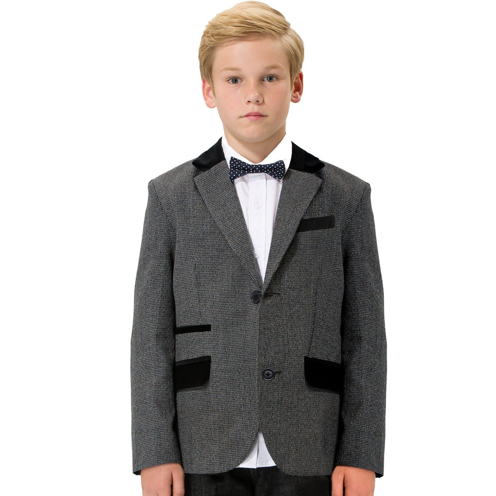 LEO&LILY boys Kids Cotton Hound-tooth Blazers Jackets Coat With Lining LLB1124
