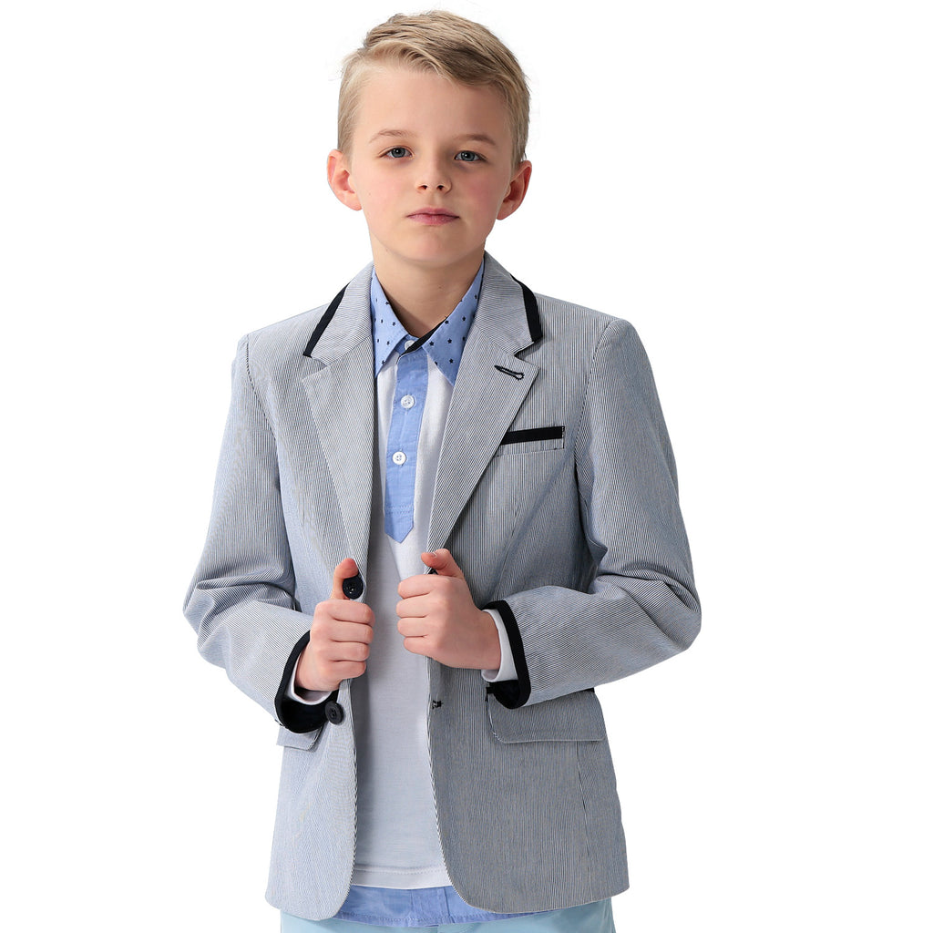 LEO&LILY Big Boys Kids 100%Cotton Dobby Stripe Blazers Jackets Coat With Lining LLB1129