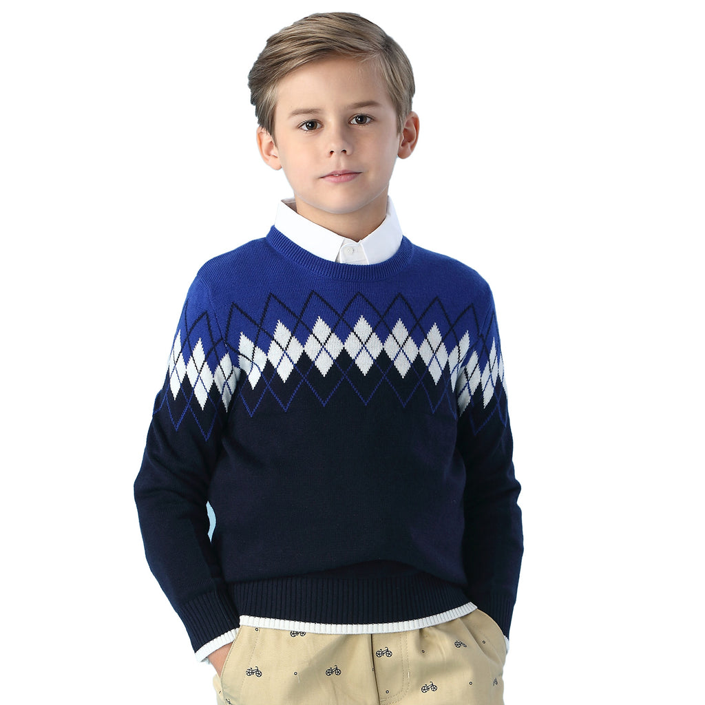 LEO&LILY Boys Kids Wool Blends Jacquard Casual Pullover Sweater LLB1252