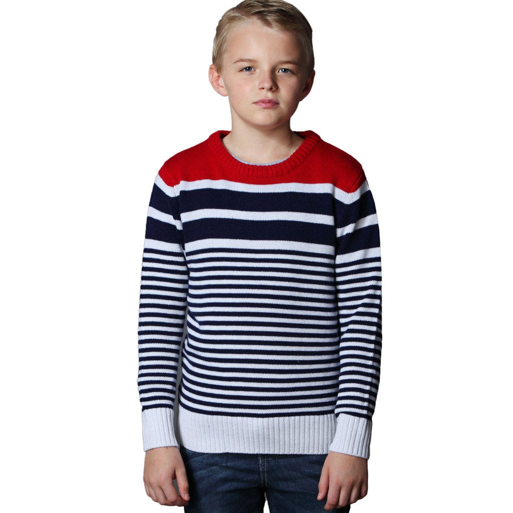 LEO&LILY Boys Fine Wool Blend Christmas Red Stripe Sweater LLB1254