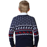 LEO&LILY Big Boys'Wool Blends Christmas Jacquard Sweater LLB1255