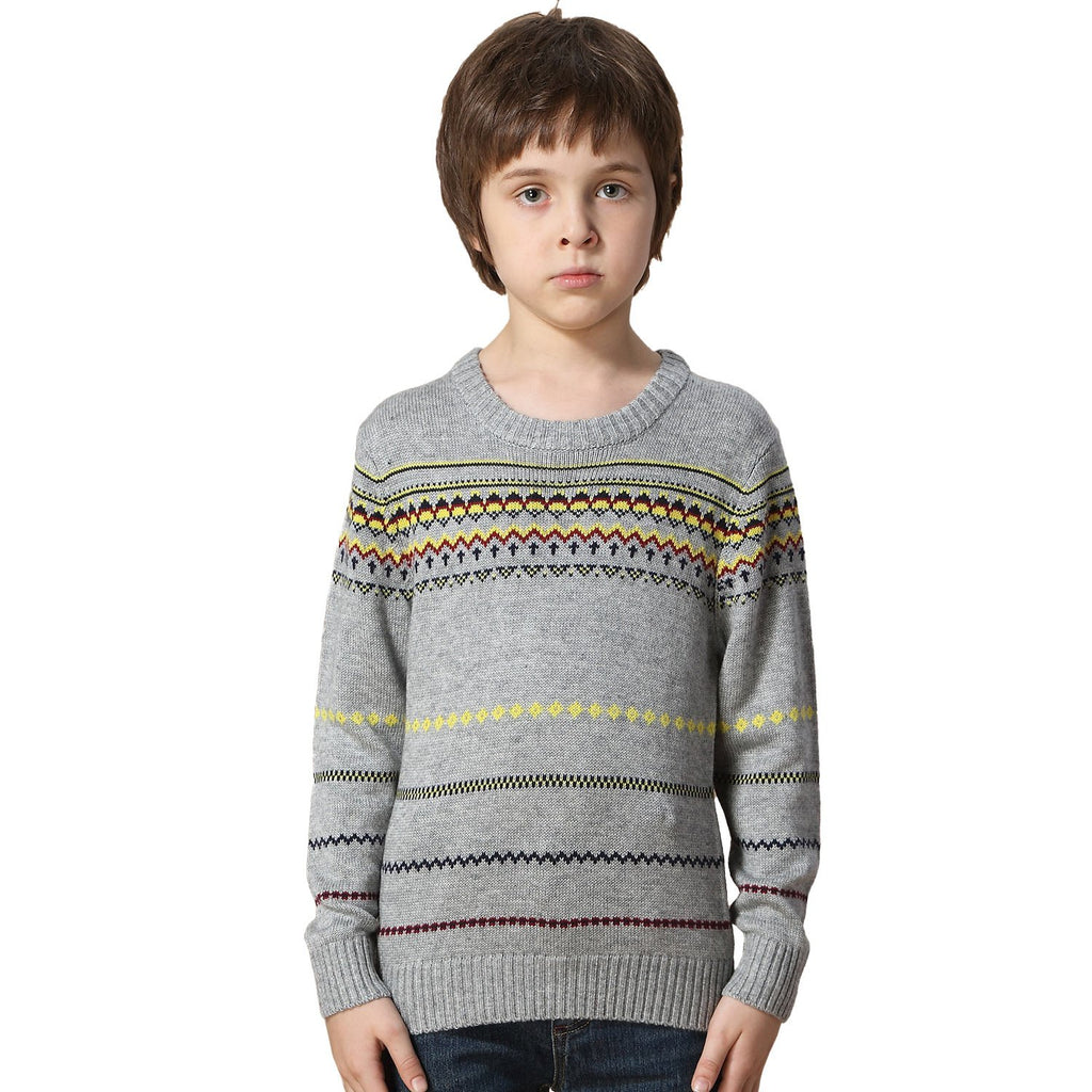 LEO&LILY boys Wool Blends Casual Dobby Sweater Pullover Jacquard LLB1261