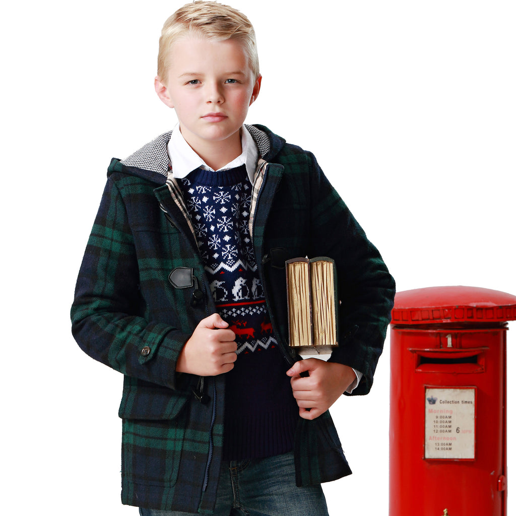 LEO&LILY Boys Green Checks Melton Wool Coats Outwear Jackets LLB1501