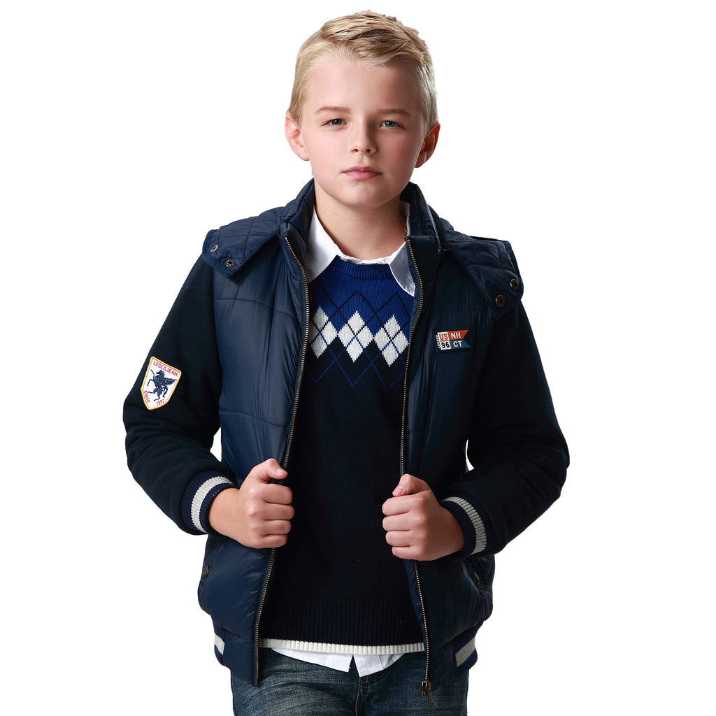 LEO&LILY Boys Winter Padded Puffer Jacket Outwear Coat W Fleece Sleeves LLB1545