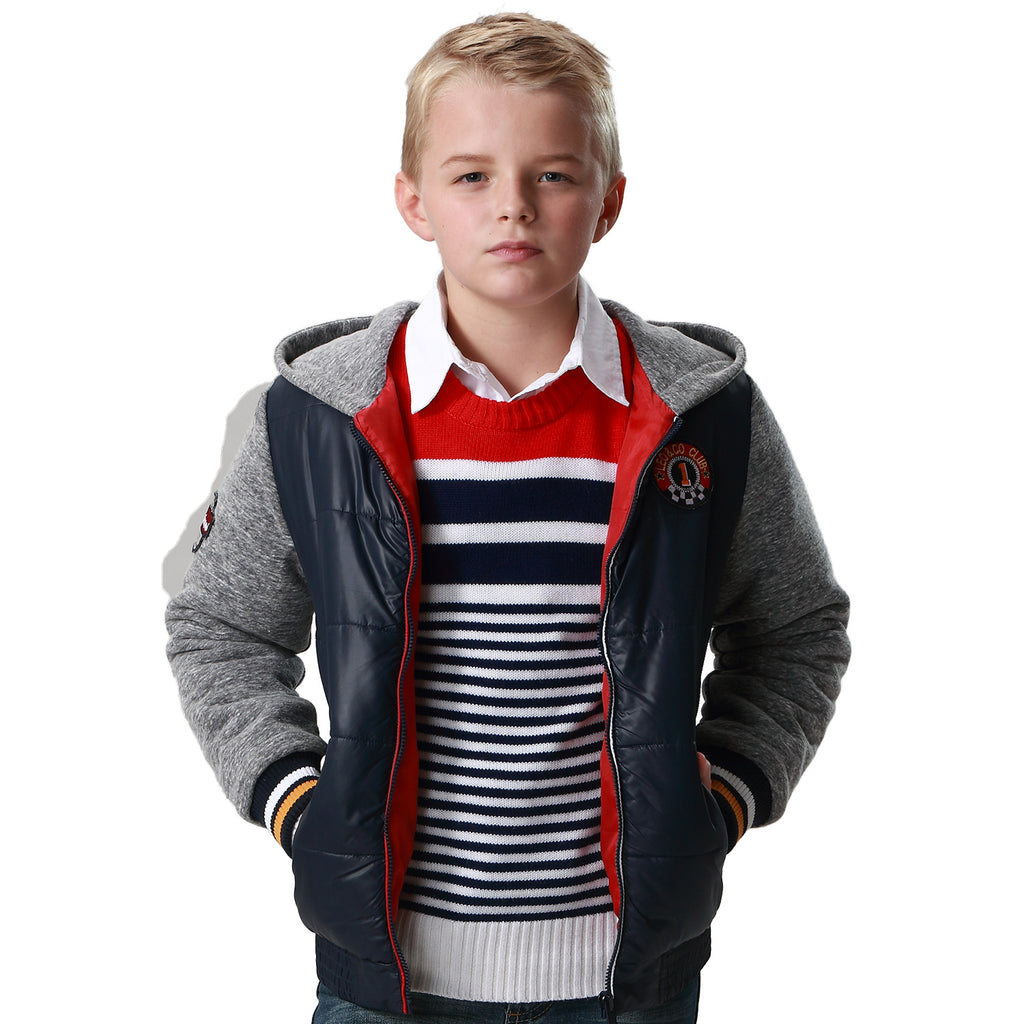 LEO&LILY Boys Padded Puffer Jacket Outwear Coats Fleece Hood Sleeves LLB1564