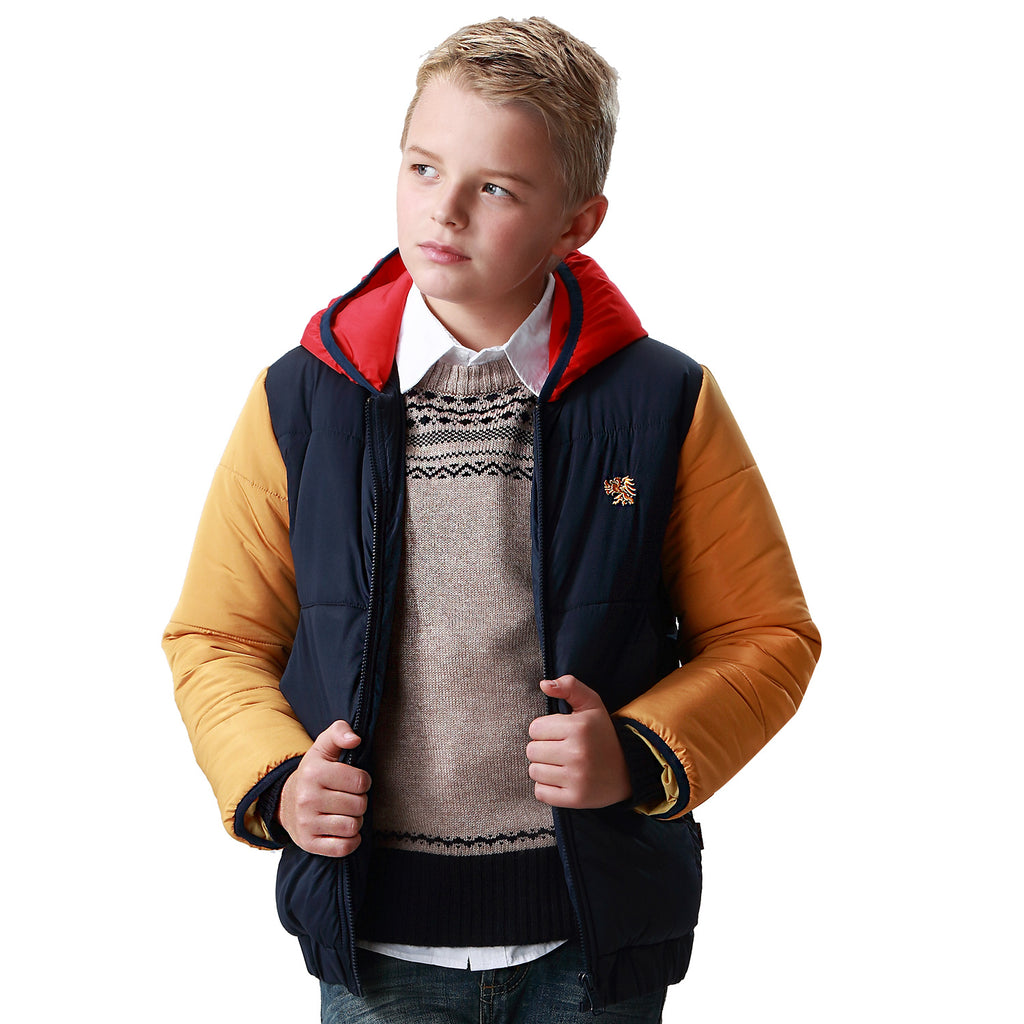 LEO&LILY Boys Winter Padded Puffer Contrast Jacket Outwear Coats LLB1566