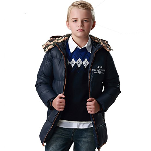 LEO&LILY Big Boys winter Long Down Padded Puffer Jacket with Hood LLB1761