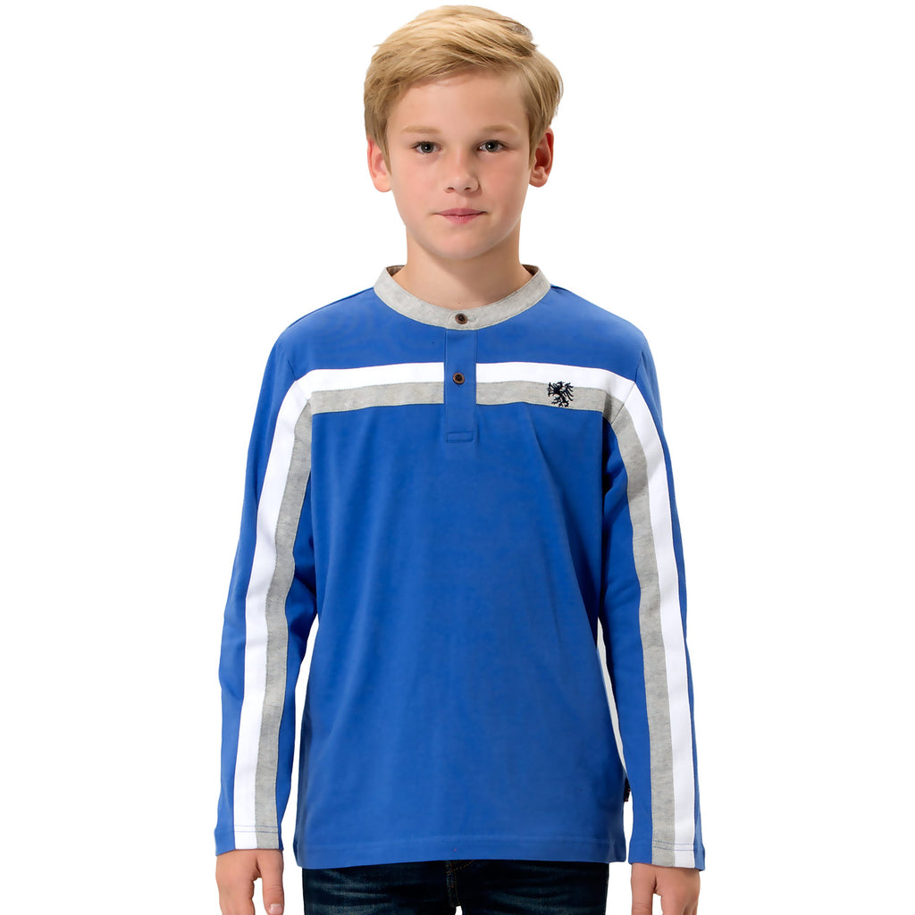 LEO&LILY Boys Kids Long Sleeves Sports Casual Yarn Dyed Pull On Top T Shirt LLB3607