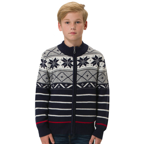 LEO&LILY boys Wool Blends Heavy Pullover Zipper Front boys Grey Varsity Jacket Sweater LLB1263