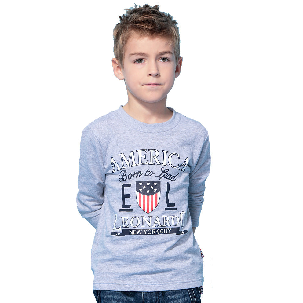 LEO&LILY Boys' Long Sleeve Crew-Neck Pullover T-Shirt LLB3802A