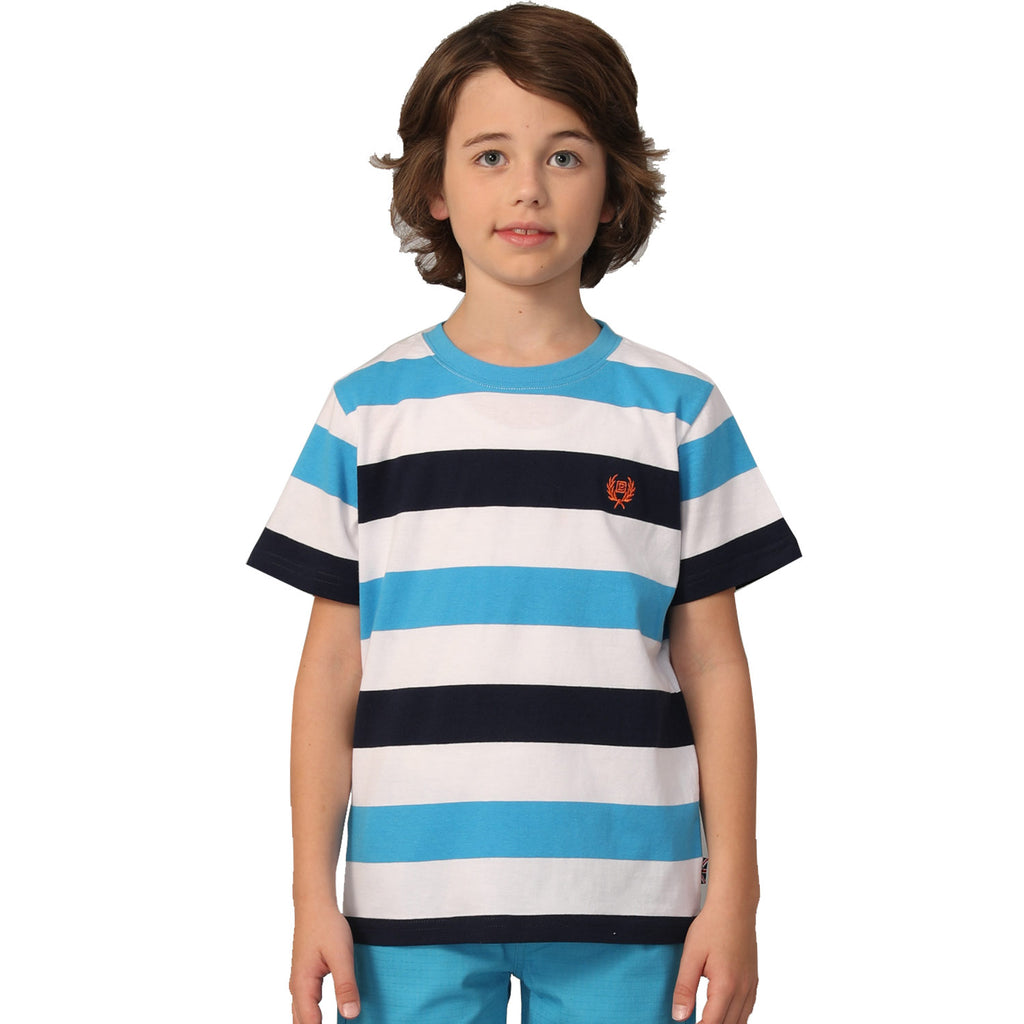 LEO&LILY Big Boys Short Sleeve Color Stripe Crew-Neck T-Shirts LLB9B02