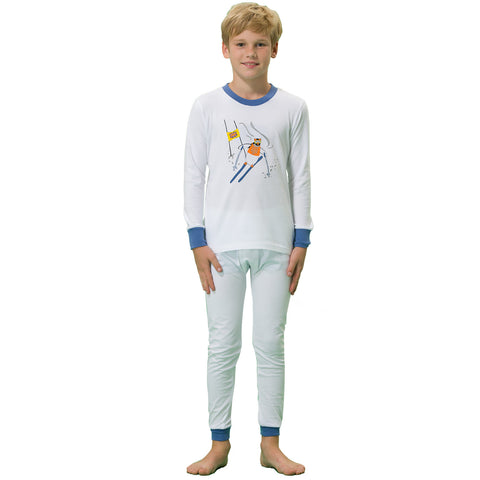 LEO&LILY boys Kids Cotton Interlock Printed Pajamas Sets White LLBP009